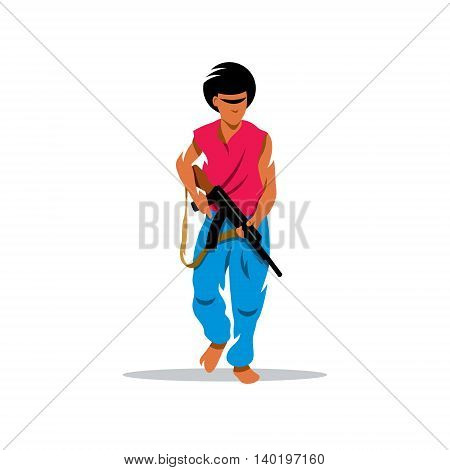 Street crime and a threat to society. Isolated on a white background