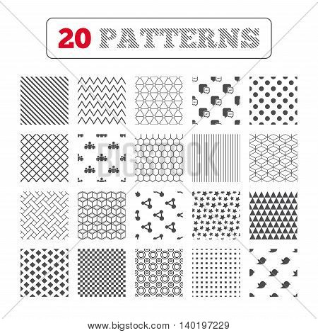 Ornament patterns, diagonal stripes and stars. Social media icons. Chat speech bubble and Bird chick symbols. Human group sign. Geometric textures. Vector