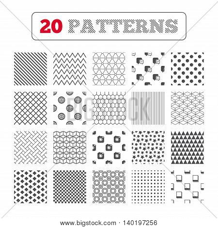 Ornament patterns, diagonal stripes and stars. Social media icons. Chat speech bubble and world globe symbols. Hipster photo camera sign. Polaroid photo frames. Geometric textures. Vector
