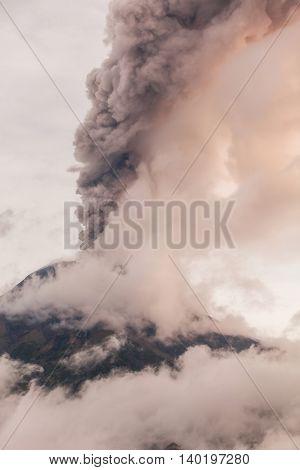 Tungurahua Volcano Intense Strombolian Activity At Sunset February 2016 Ecuador South America