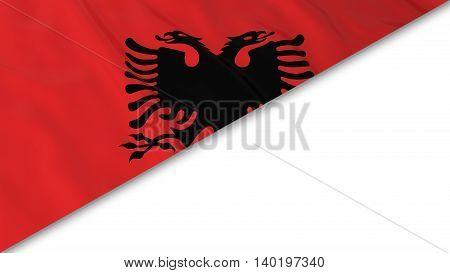 Albanian Flag Corner Overlaid On White Background - 3D Illustration