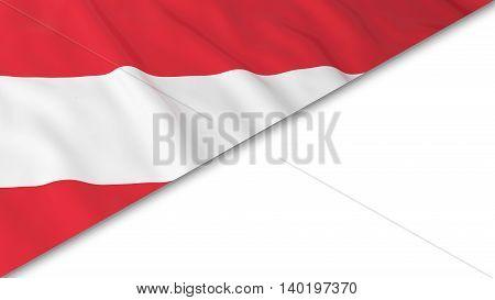 Austrian Flag Corner Overlaid On White Background - 3D Illustration