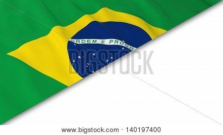 Brazilian Flag Corner Overlaid On White Background - 3D Illustration