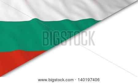 Bulgarian Flag Corner Overlaid On White Background - 3D Illustration
