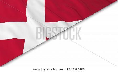 Danish Flag Corner Overlaid On White Background - 3D Illustration