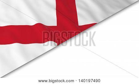 English Flag Corner Overlaid On White Background - 3D Illustration