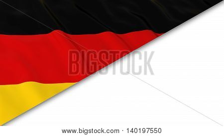 German Flag Corner Overlaid On White Background - 3D Illustration