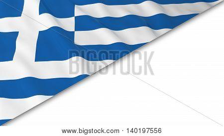 Greek Flag Corner Overlaid On White Background - 3D Illustration