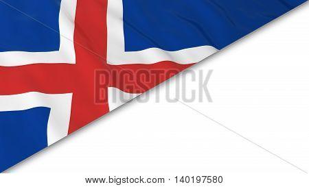 Icelandic Flag Corner Overlaid On White Background - 3D Illustration