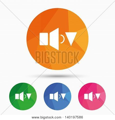 Speaker low volume sign icon. Sound symbol. Triangular low poly button with flat icon. Vector