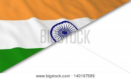 Indian Flag Corner Overlaid On White Background - 3D Illustration