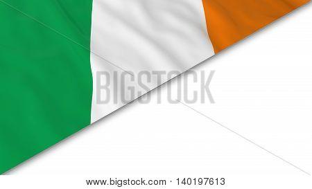 Irish Flag Corner Overlaid On White Background - 3D Illustration