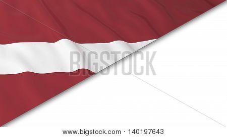 Latvian Flag Corner Overlaid On White Background - 3D Illustration