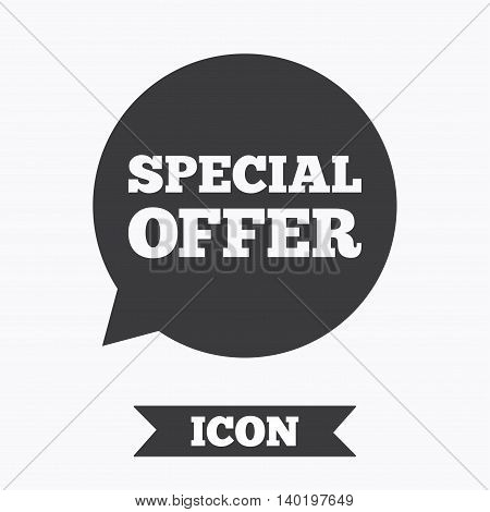 Special offer sign icon. Sale symbol in speech bubble. Graphic design element. Flat special offer symbol on white background. Vector