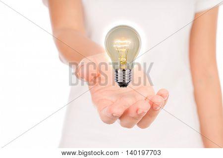 women hand with Light bulb
