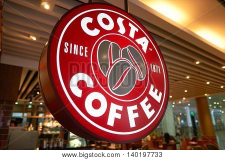 SHENZHEN, CHINA - CIRCA MAY, 2016: close up shot of Costa Coffee logo. Costa Coffee is a British multinational coffeehouse company.