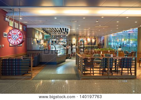 SHENZHEN, CHINA - CIRCA MAY, 2016: interior of Costa Coffee. Costa Coffee is a British multinational coffeehouse company. It is the second largest coffeehouse chain in the world behind Starbucks.