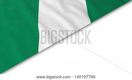 Nigerian Flag Corner Overlaid On White Background - 3D Illustration