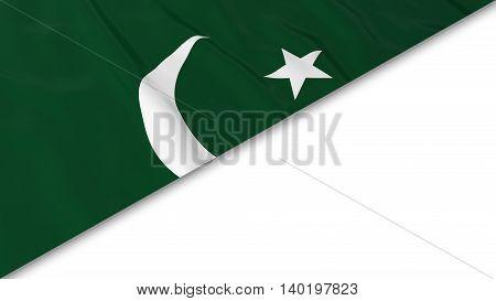 Pakistani Flag Corner Overlaid On White Background - 3D Illustration