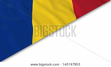 Romanian Flag Corner Overlaid On White Background - 3D Illustration