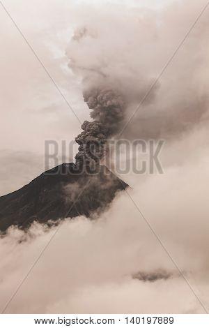 Tungurahua Volcano Sunset Explosion In Ecuador South America