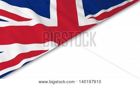 British Flag Corner Overlaid On White Background - 3D Illustration
