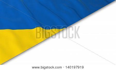 Ukrainian Flag Corner Overlaid On White Background - 3D Illustration
