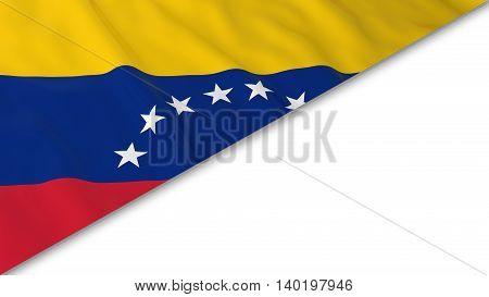 Venezuelan Flag Corner Overlaid On White Background - 3D Illustration