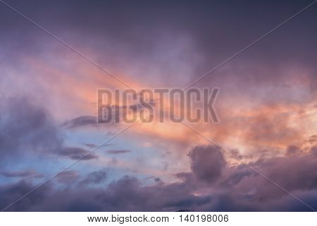 Colorful Sky After Powerful Explosion Of Tungurahua Volcano At Sunset Ecuador