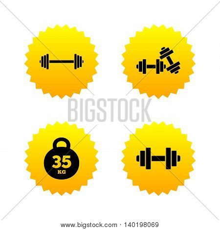 Dumbbells sign icons. Fitness sport symbols. Gym workout equipment. Yellow stars labels with flat icons. Vector