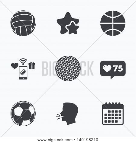 Sport balls icons. Volleyball, Basketball, Soccer and Golf signs. Team sport games. Flat talking head, calendar icons. Stars, like counter icons. Vector