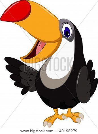 Cute cartoon toucan bird posing for you design