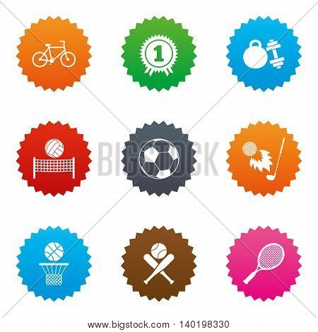 Sport games, fitness icons. Football, basketball and tennis signs. Golf, bike and winner medal symbols. Stars label button with flat icons. Vector