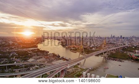 aerial view of bhumibol bridge important landmark of bangkok thailand