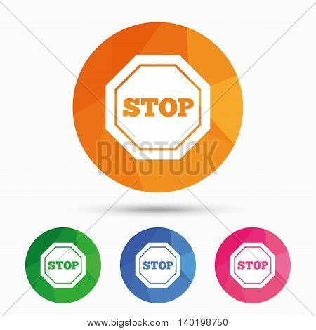 Traffic stop sign icon. Caution symbol. Triangular low poly button with flat icon. Vector