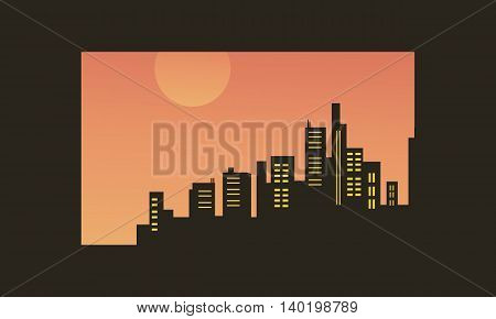 Vector illustration of beacutiful city silhouettes at afternoon