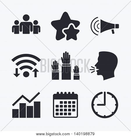Strike group of people icon. Megaphone loudspeaker sign. Election or voting symbol. Hands raised up. Wifi internet, favorite stars, calendar and clock. Talking head. Vector