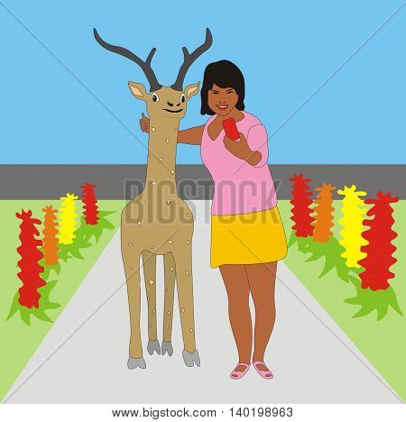 Illustration of a young girl doing selfie with a deer in the park on a background of a flower bed