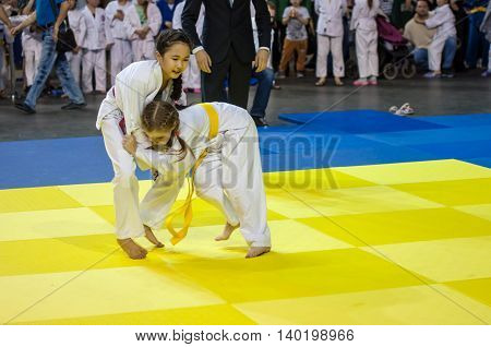 Orenburg, Russia - 16 April 2016: Girls Compete In Judo