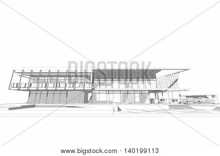 commercial building structure architecture abstract drawing, 3d illustration,