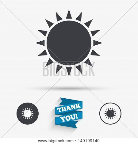Sun icon. Sunlight summer symbol. Hot weather sign. Flat icons. Buttons with icons. Thank you ribbon. Vector