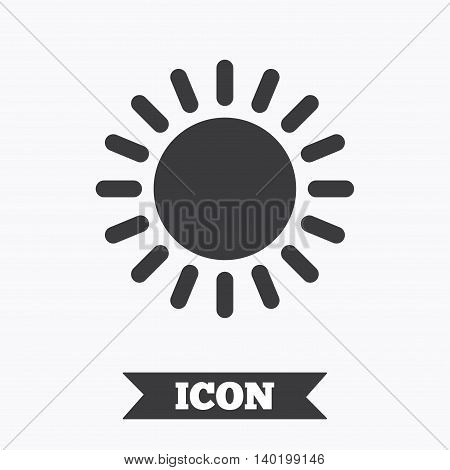 Sun icon. Sunlight summer symbol. Hot weather sign. Graphic design element. Flat sun symbol on white background. Vector