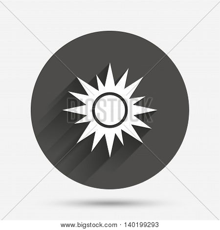 Sun sign icon. Solarium symbol. Heat button. Circle flat button with shadow. Vector