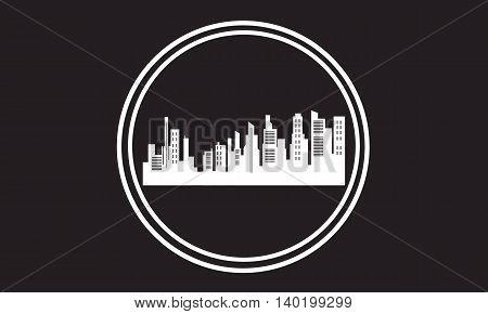 Stock city icon silhouettes vector art illustration