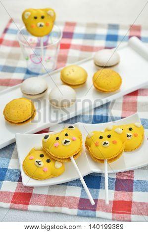 Funny bear candy cake for children in restaurant