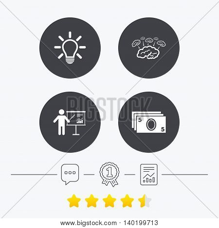 Presentation billboard, brainstorm icons. Cash money and lamp idea signs. Man standing with pointer. Scheme and Diagram symbol. Chat, award medal and report linear icons. Star vote ranking. Vector