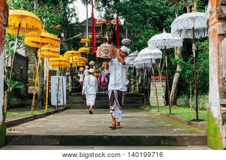 UBUD INDONESIA - MARCH 2: Balinese man in traditional clothes during the celebration before Nyepi (Balinese Day of Silence) on March 2 2016 in Ubud Indonesia.