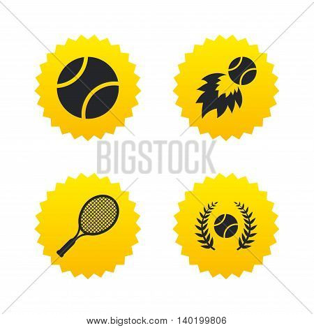 Tennis ball and racket icons. Fast fireball sign. Sport laurel wreath winner award symbol. Yellow stars labels with flat icons. Vector
