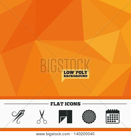 Triangular low poly orange background. Textile cloth piece icon. Scissors hairdresser symbol. Needle with thread. Tailor symbol. Canvas for embroidery. Calendar flat icon. Vector