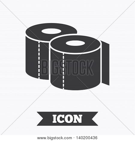 Toilet papers sign icon. WC roll symbol. Graphic design element. Flat toilet paper symbol on white background. Vector